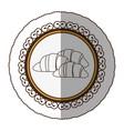 emblem silhouette croissant bread icon vector image vector image