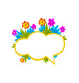 empty speech cloud decorated with colorful flowers vector image vector image