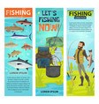 fisherman and fishing equipement banners vector image vector image