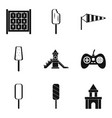 game in the yard icons set simple style vector image vector image