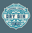 gin logo with floral ornaments vector image vector image