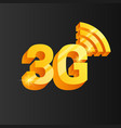 golden 3g connection icon vector image