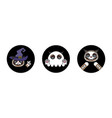 halloween stickers cat in skeleton witch ghost vector image