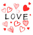 hand drawn heart love icon on white background vector image vector image