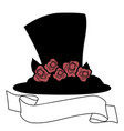 hat with red roses and banner text isolated on vector image vector image