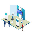 isometric expo stands exhibition demonstration vector image vector image