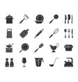 kitchenware black silhouette icons set vector image