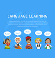 language learning landing page template with cute vector image