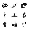 lighting icon set simple style vector image vector image