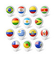 Map pointers with flags South America vector image