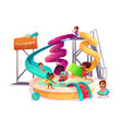 multinational kids in water park cartoon vector image vector image