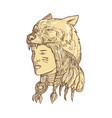 native american woman wearing wolf headdress vector image vector image
