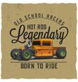 old school legendary racers poster vector image
