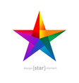 Origami rainbow Star from paper on white vector image vector image