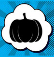 pumpkin sign black icon in bubble on blue vector image