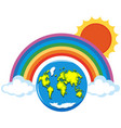 rainbow over the world vector image