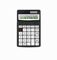 realistic black calculator with white buttons vector image