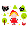 red riding hood icons vector image vector image