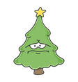 sad depress christmas tree cartoon character vector image vector image