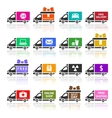 Set of cargo trucks colored icons vector | Price: 1 Credit (USD $1)