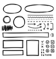 Set of hand drawn elements for selecting text vector image vector image