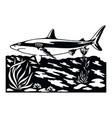 shark wildlife stencils - silhouettes wildlife vector image vector image