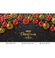 shiny christmas balls and text on dark banner vector image vector image