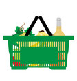 shopping market basket with variety grocery vector image vector image