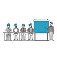 silhouette color sections with men group sitting vector image