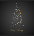 silhouette gold christmas tree with grey balls vector image vector image