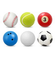 Sport equipment realistic balls billiard football