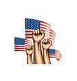 usa flag and hand on white background vector image vector image