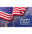 usa independence day banner with waving american vector image vector image