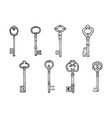 vintage key set sketch engraving vector image vector image