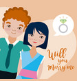 will you marry me card vector image vector image