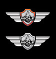 wolf-wings and shield logo design vector image