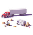 low poly trucks and forklift vector image