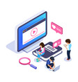 3d isometric online learning concept video vector image vector image