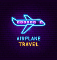 airplane travel neon label vector image vector image
