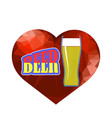 beer glass and red polygonal heart vector image