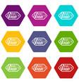black friday sale tag icon set color hexahedron vector image vector image