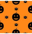Black silhouette funny smiling pumpkins and spider vector image vector image