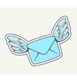 blue envelope with wings flying on gray b vector image