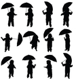 child with umbrella silhouette in black vector image vector image