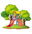 children play slide at playground vector image vector image