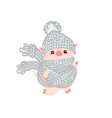 christmas pinky piggy with a hat new year symbol vector image