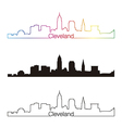 Cleveland skyline linear style with rainbow vector image vector image