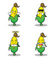 collection set sweet corn character cartoon vector image vector image