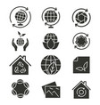 ecology icon set black for vector image