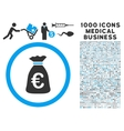 Euro Money Bag Icon with 1000 Medical Business vector image vector image
